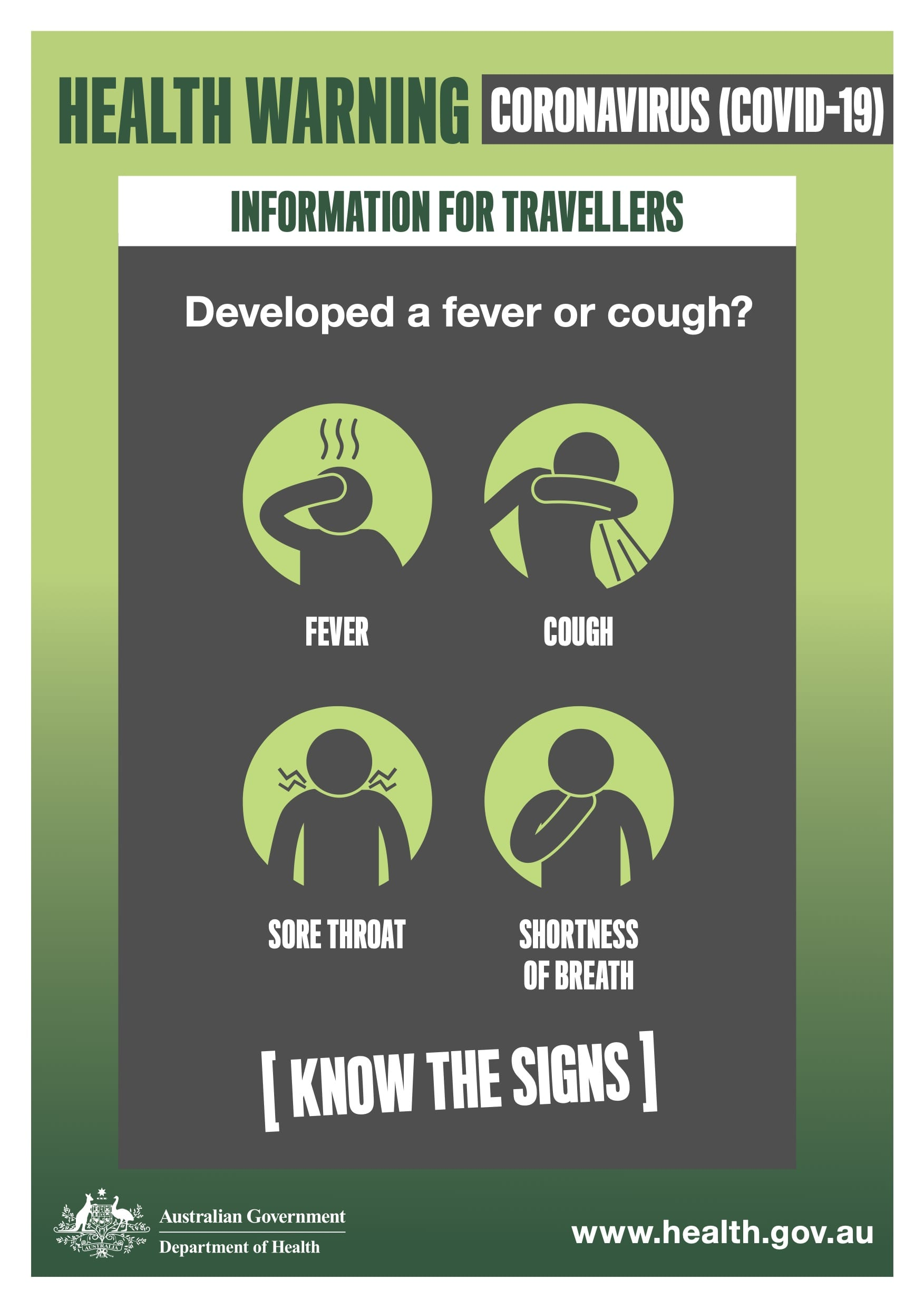 COVID-19 Coronavirus Know the Signs
